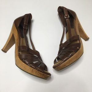 Michael Kors Strappy Heels Brown Leather Wood 7.5